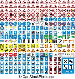 completamente, editable, três, vetorial, sinais tráfego,...