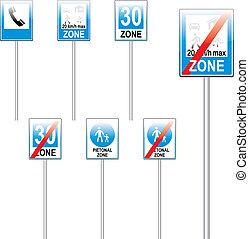 completamente, editable, vetorial, europeu, sinais tráfego