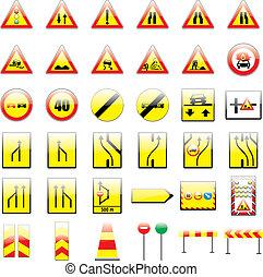completamente, editable, vetorial, sinais tráfego, europeu