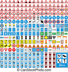 completamente, europeu, tráfego, vetorial, editable, três, ...