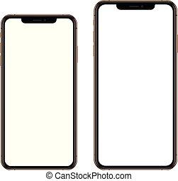 completamente nuevo, realista, móvil, conjunto, teléfono, smartphone