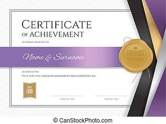 completamento, certificato, cornice, diploma, graduazione, elegante, disegno, lusso, sagoma, bordo, o
