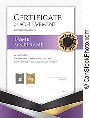 completamento, certificato, cornice, diploma, graduazione, elegante, disegno, lusso, sagoma, ritratto, bordo, o