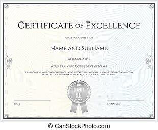 completamento, certificato, graduazione, vettore, eccellenza, sagoma, realizzazione