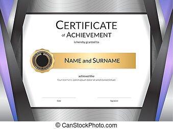 completamento, dorato, certificato, cornice, diploma, graduazione, elegante, disegno, lusso, sagoma, bordo, o