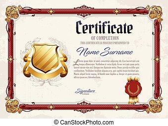 completamento, vendemmia, cornice, certificato