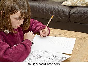 completando, jovem, escrivaninha, menina, dever casa,...