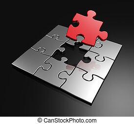 completare, ultimo, maestro, pezzo, rosso, puzzle