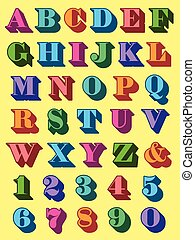 Complete alphabet and numerals set in colourful uppercase 3d font in the colours of the rainbow for use as typographic design elements in teaching, reading, writng and mathematics