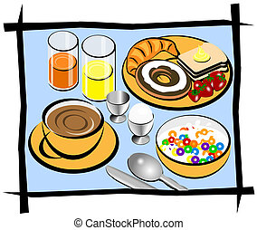 Breakfast illustration showing coffee, bread, donut, cereal, juice, orange, egg