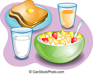 Illustration of a complete breakfast with cereal, milk toast and orange juice. Part of the complete meal series.