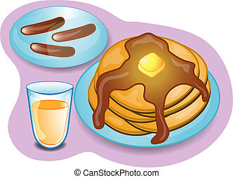 Illustration of a complete breakfast with pancakes, sausage and orange juice. Part of the complete meal series.