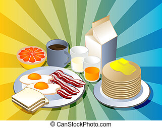 Complete breakfast with bacon pancakes coffee milk