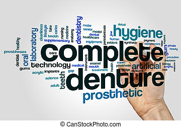 Complete denture word cloud concept on grey background.