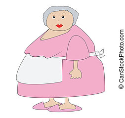 complete elderly woman in an apron,vector illustration
