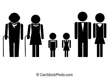 Complete Family - illustration of complete family icon...