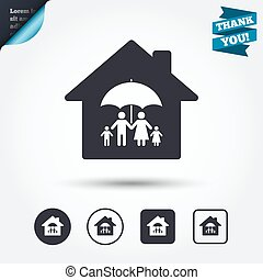 Complete family home insurance icon. - Complete family home...