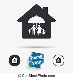 Complete family home insurance icon.
