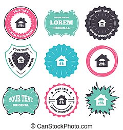 Complete family home insurance icon. - Label and badge...