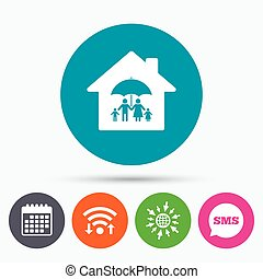 Complete family home insurance icon. - Wifi, Sms and...