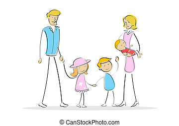 complete family - illustration of parents with kids on...