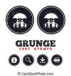 Complete family insurance icon. Umbrella symbol. - Grunge...