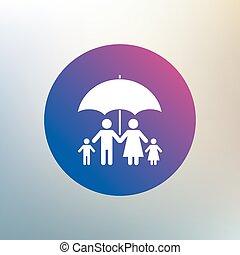 Complete family insurance icon. Umbrella symbol. - Complete...