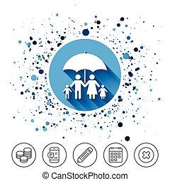 Complete family insurance icon. Umbrella symbol. - Button on...