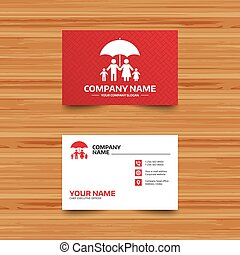 Complete family insurance icon. Umbrella symbol. - Business...