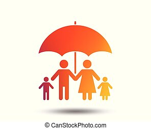 Complete family insurance icon. Umbrella symbol. - Complete...