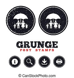 Complete family insurance icon. Umbrella symbol. - Grunge...