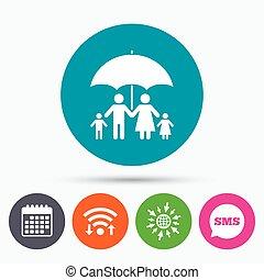 Complete family insurance icon. Umbrella symbol. - Wifi, Sms...