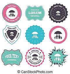 Complete family insurance icon. Umbrella symbol. - Label and...
