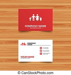 Complete family with two children sign icon. - Business card...