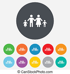 Complete family with two children sign icon. - Family with ...