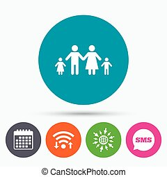 Complete family with two children sign icon. - Wifi, Sms and...
