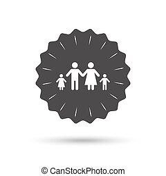 Complete family with two children sign icon. - Vintage...