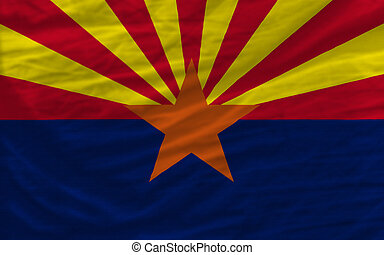 complete flag of us state of arizona covers whole frame, waved, crunched and very natural looking. It is perfect for background