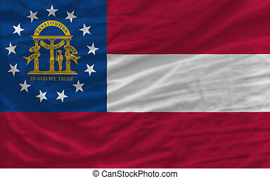 complete flag of us state of georgia covers whole frame, waved, crunched and very natural looking. It is perfect for background