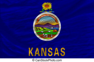 complete flag of us state of kansas covers whole frame, waved, crunched and very natural looking. It is perfect for background