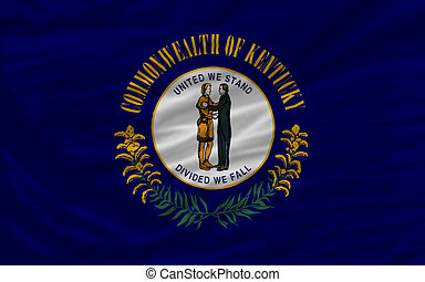 complete flag of us state of kentucky covers whole frame, waved, crunched and very natural looking. It is perfect for background