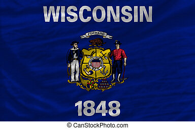complete flag of us state of wisconsin covers whole frame, waved, crunched and very natural looking. It is perfect for background