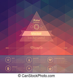 complete., lagen, heeft, driehoek, gemakkelijk, weinig, model, shapes., back, seamless, achtergrond., vector, retro, bestand, infographics, geometrisch, etiket, using., samenstelling, design.