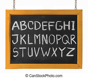 letters of English alphabet capital upper case on blackboard...