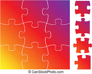Complete puzzle / jigsaw set - isolated on white background