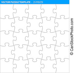 Complete puzzle / jigsaw template (25 pieces)