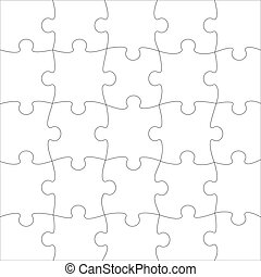 Complete puzzle / jigsaw template for print. Vector.