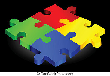 Complete Puzzle on simple Background