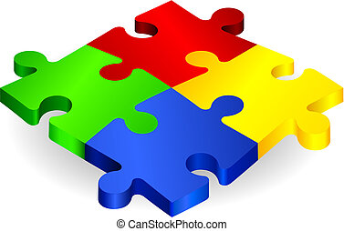Complete Puzzle on simple Background Original Vector...