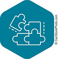 Complete puzzle solution icon, outline style